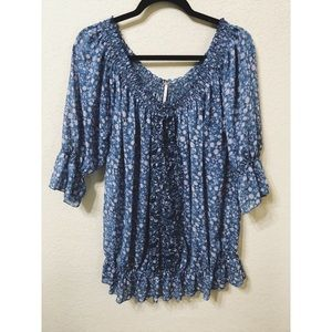 Free People | blue and purple floral peasant top